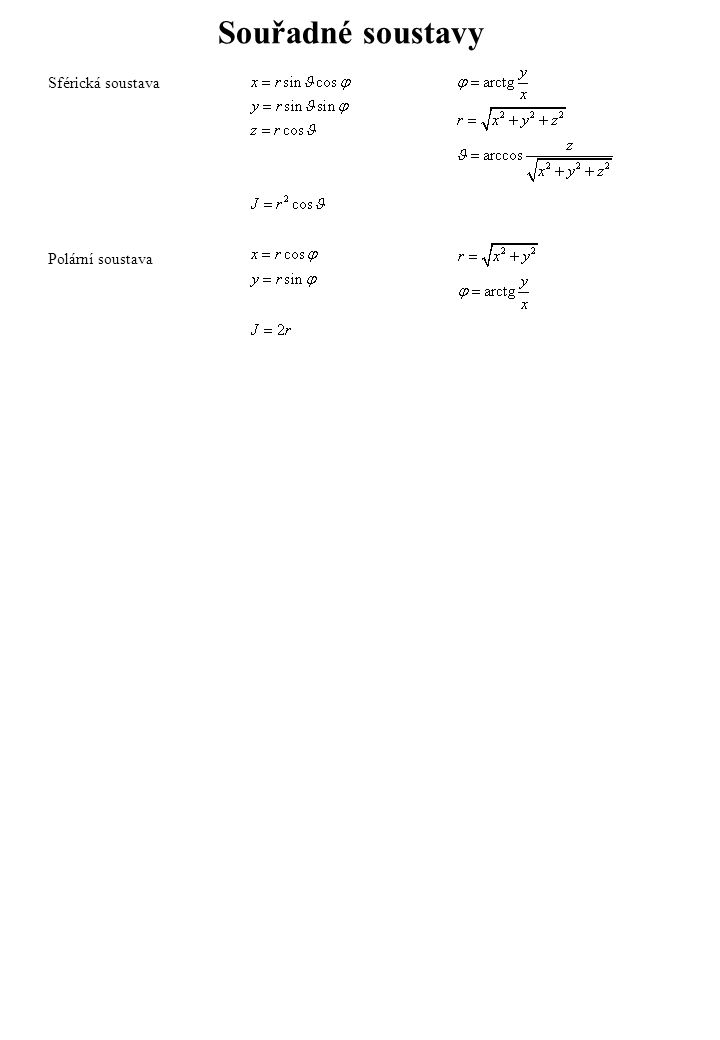 Souřadné soustavy Sférická soustava Polární soustava