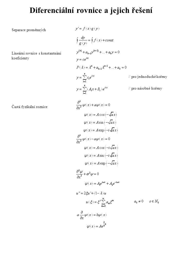 Diferenciální rovnice a jejich řešení