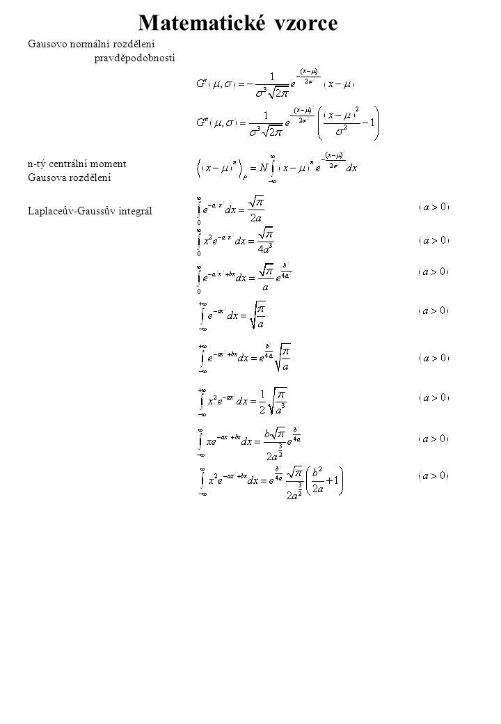 Matematické vzorce Gausovo normální rozdělení pravděpodobnosti