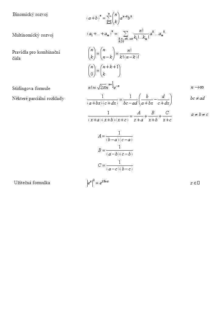 Binomický rozvoj Multinomický rozvoj. Pravidla pro kombinační. čísla. Stirlingova formule. Některé parciální rozklady.