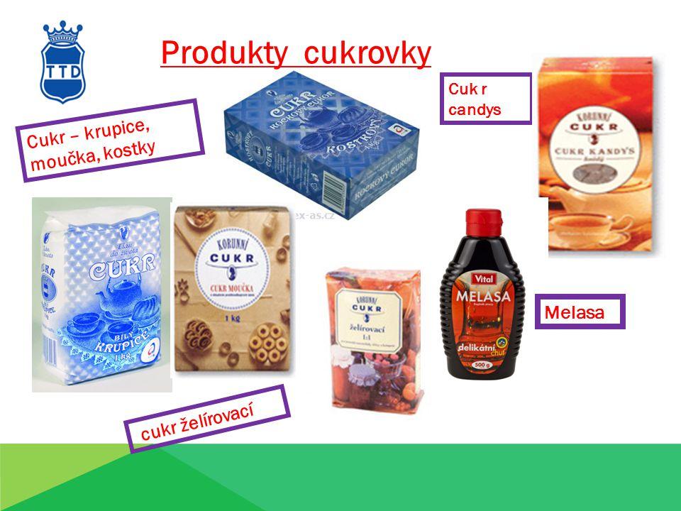 Produkty cukrovky Cukr – krupice, moučka, kostky Melasa