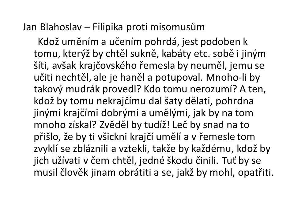 Jan Blahoslav – Filipika proti misomusům