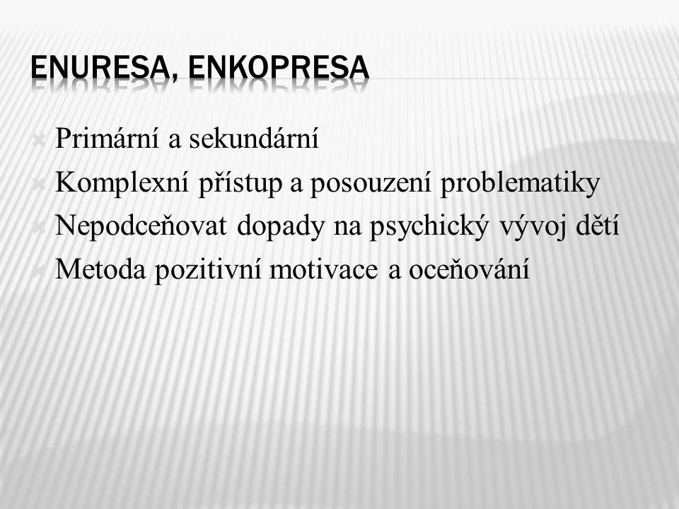 Enuresa, enkopresa Primární a sekundární