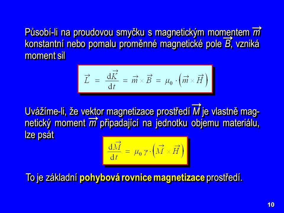 To je základní pohybová rovnice magnetizace prostředí.