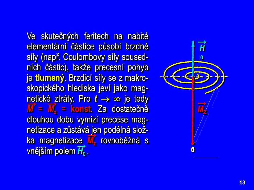 Ve skutečných feritech na nabité elementární částice působí brzdné síly (např. Coulombovy síly soused-ních částic), takže precesní pohyb je tlumený. Brzdicí síly se z makro-skopického hlediska jeví jako mag-netické ztráty. Pro t   je tedy M = Mz = konst. Za dostatečně dlouhou dobu vymizí precese mag-netizace a zůstává jen podélná slož-ka magnetizace Mz rovnoběžná s vnějším polem H0 .