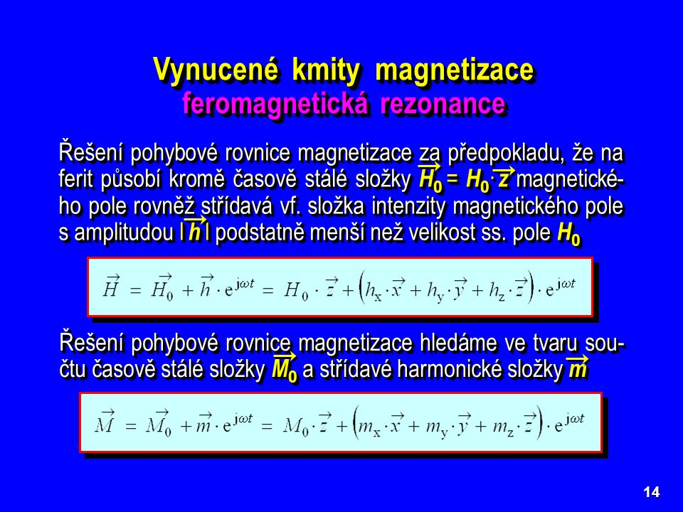 Vynucené kmity magnetizace feromagnetická rezonance