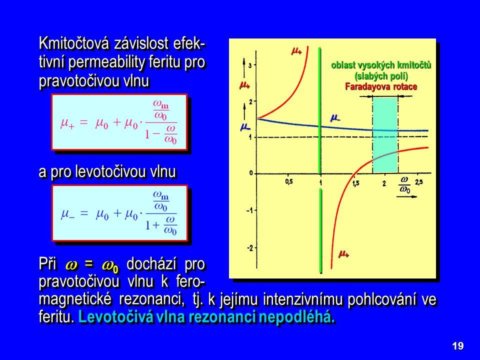 oblast vysokých kmitočtů (slabých polí) Faradayova rotace