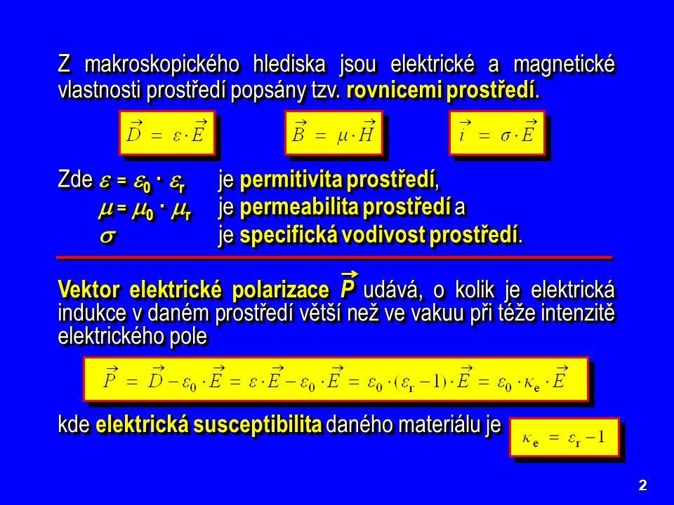 Zde  = 0 · r je permitivita prostředí,