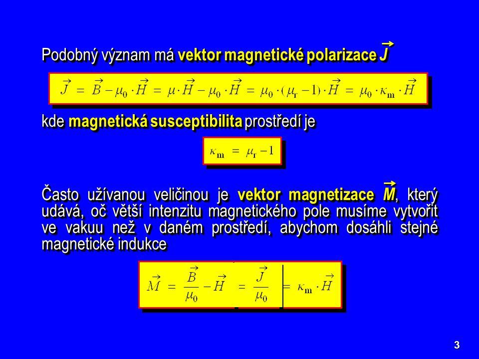 Podobný význam má vektor magnetické polarizace J