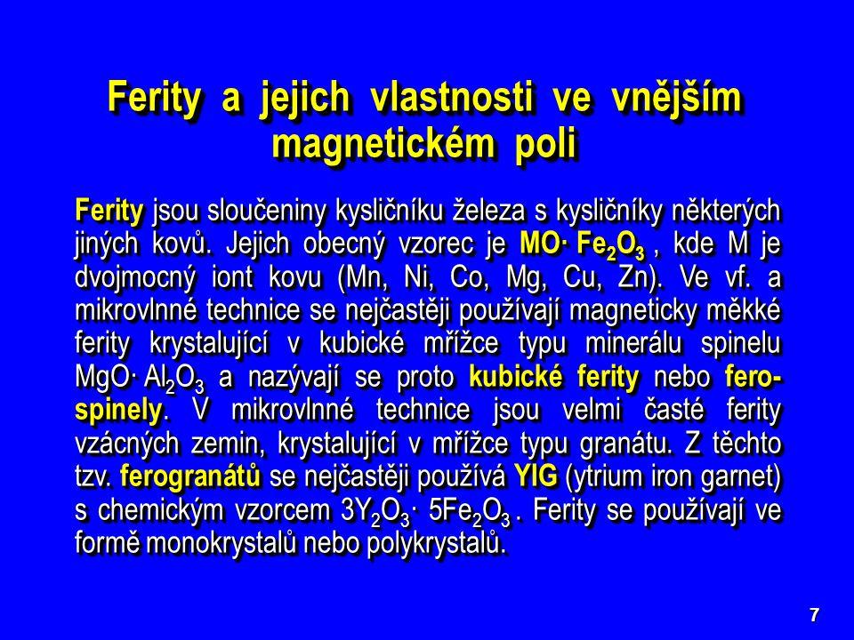 Ferity a jejich vlastnosti ve vnějším magnetickém poli