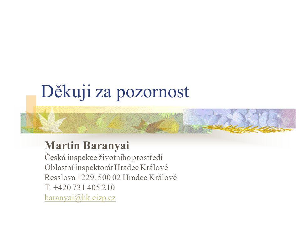 Děkuji za pozornost Martin Baranyai Česká inspekce životního prostředí