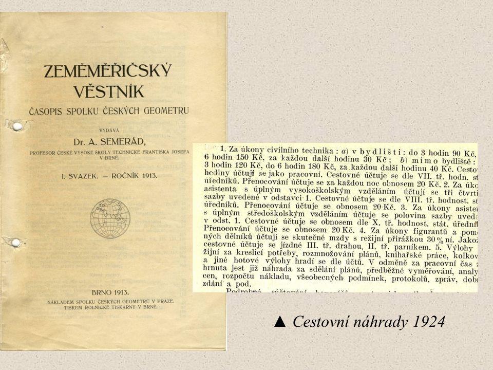▲ Cestovní náhrady 1924