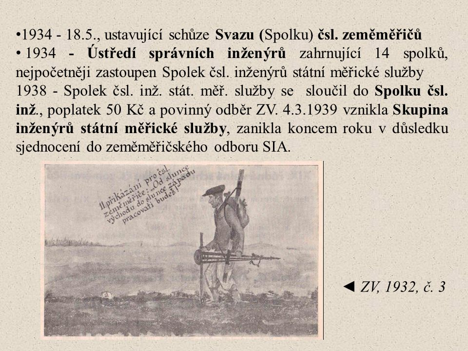 1934 - 18.5., ustavující schůze Svazu (Spolku) čsl. zeměměřičů