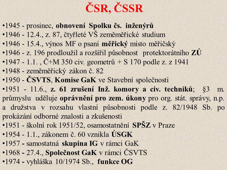 ČSR, ČSSR 1945 - prosinec, obnovení Spolku čs. inženýrů