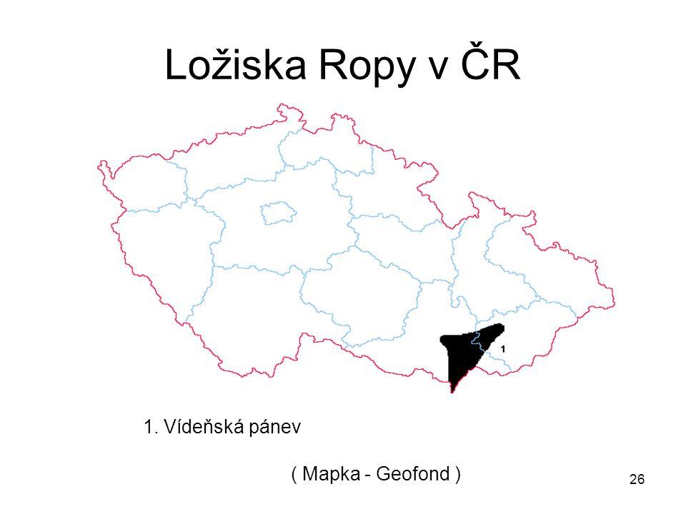 Ložiska Ropy v ČR 1. Vídeňská pánev ( Mapka - Geofond )