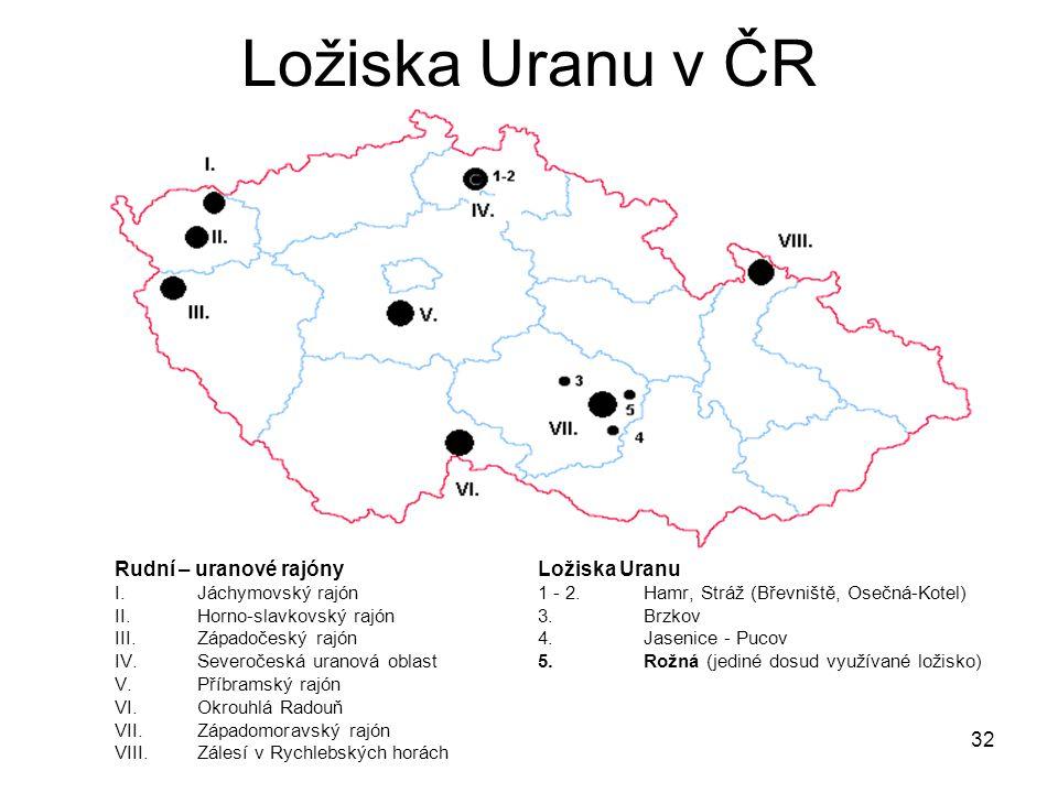Ložiska Uranu v ČR Rudní – uranové rajóny Ložiska Uranu