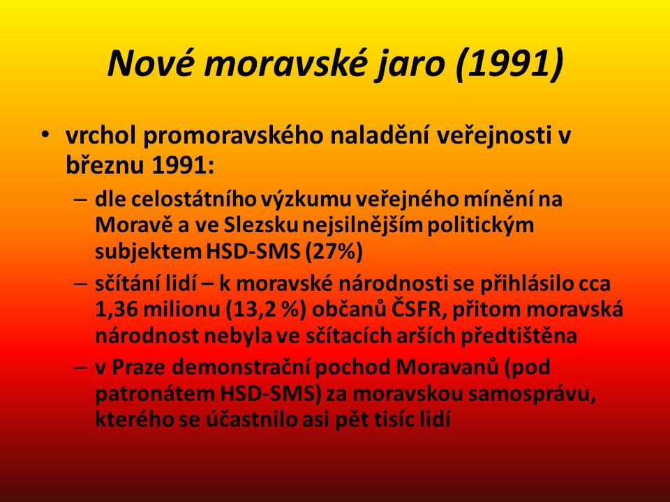Nové moravské jaro (1991) vrchol promoravského naladění veřejnosti v březnu 1991: