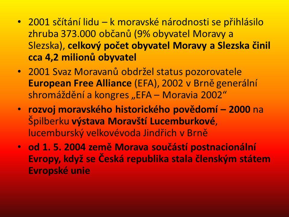 2001 sčítání lidu – k moravské národnosti se přihlásilo zhruba 373