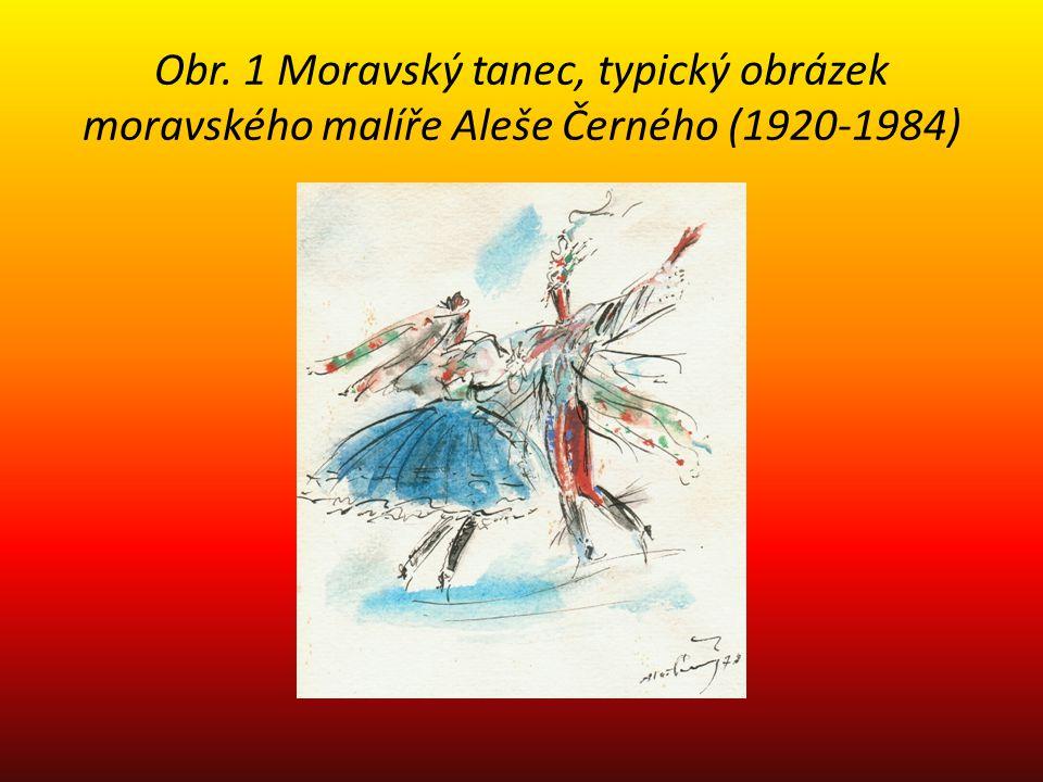 Obr. 1 Moravský tanec, typický obrázek moravského malíře Aleše Černého (1920-1984)