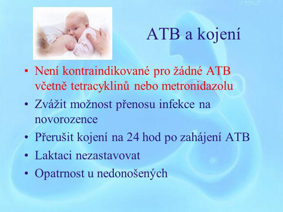 ATB a kojení Není kontraindikované pro žádné ATB včetně tetracyklinů nebo metronidazolu. Zvážit možnost přenosu infekce na novorozence.
