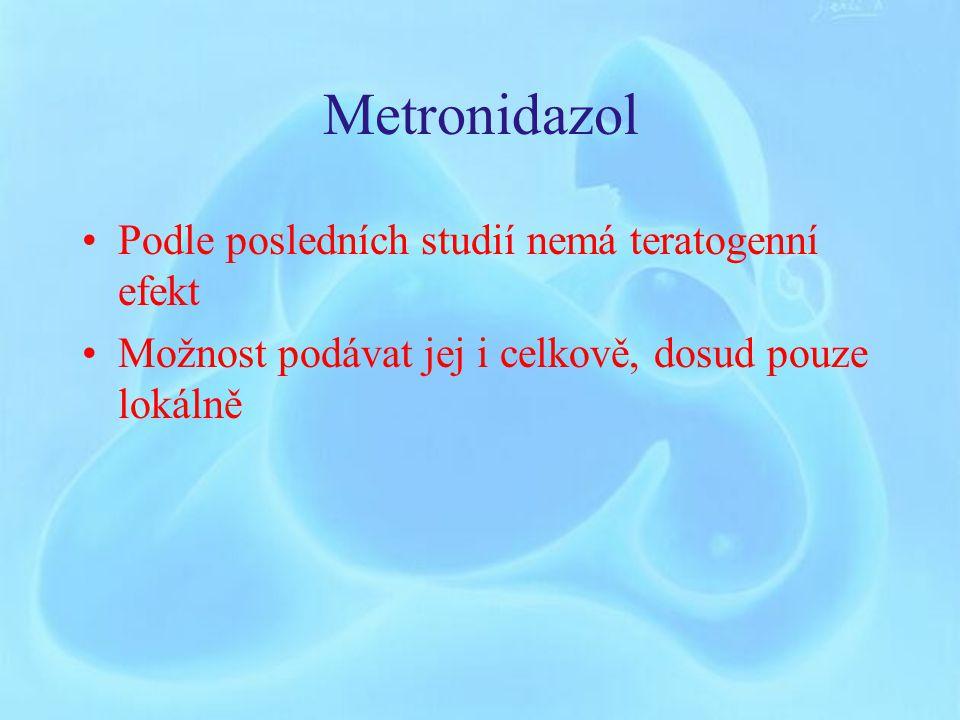 Metronidazol Podle posledních studií nemá teratogenní efekt