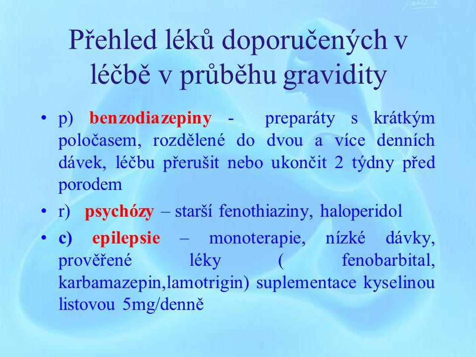 Přehled léků doporučených v léčbě v průběhu gravidity