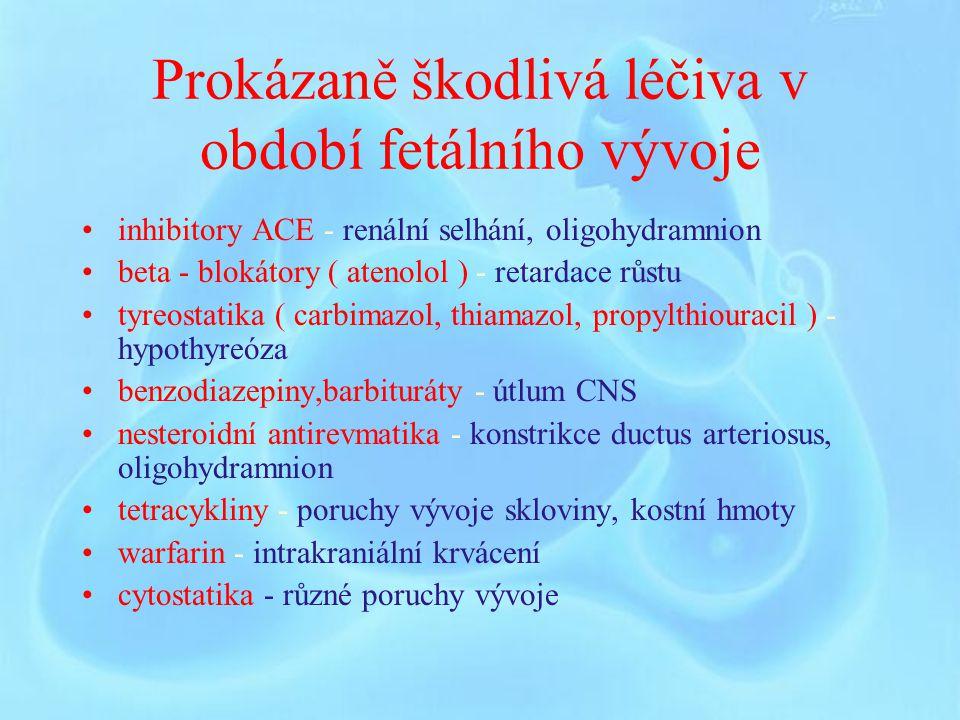 Prokázaně škodlivá léčiva v období fetálního vývoje