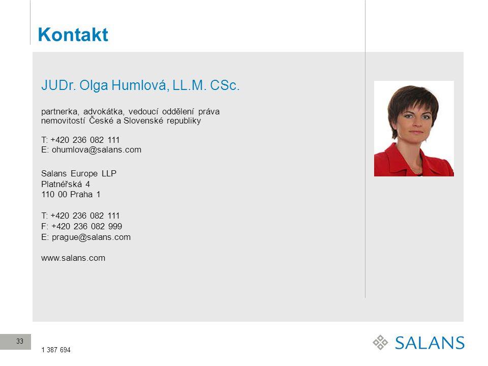 Kontakt JUDr. Olga Humlová, LL.M. CSc.