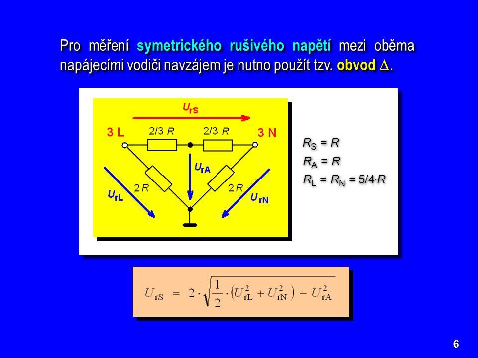 Pro měření symetrického rušivého napětí mezi oběma napájecími vodiči navzájem je nutno použít tzv. obvod D.