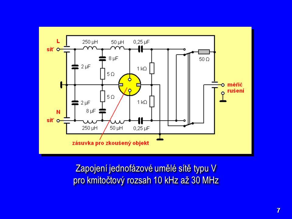 Zapojení jednofázové umělé sítě typu V