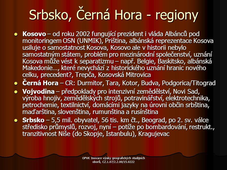 Srbsko, Černá Hora - regiony