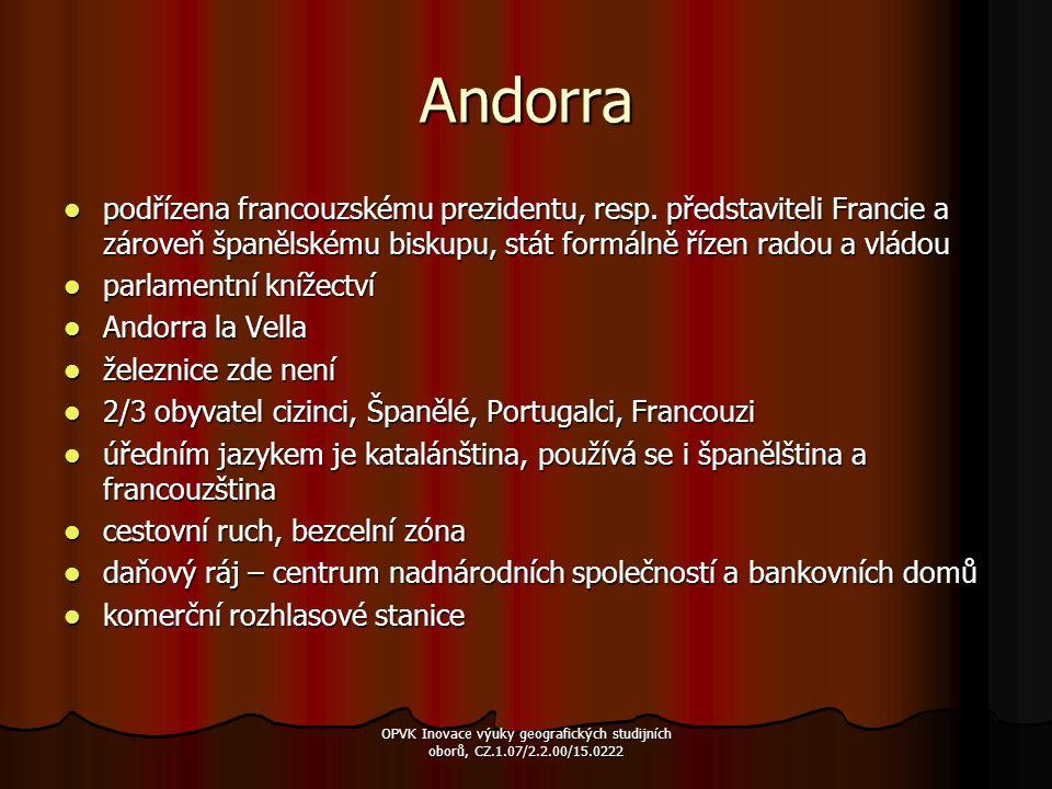 Andorra podřízena francouzskému prezidentu, resp. představiteli Francie a zároveň španělskému biskupu, stát formálně řízen radou a vládou.