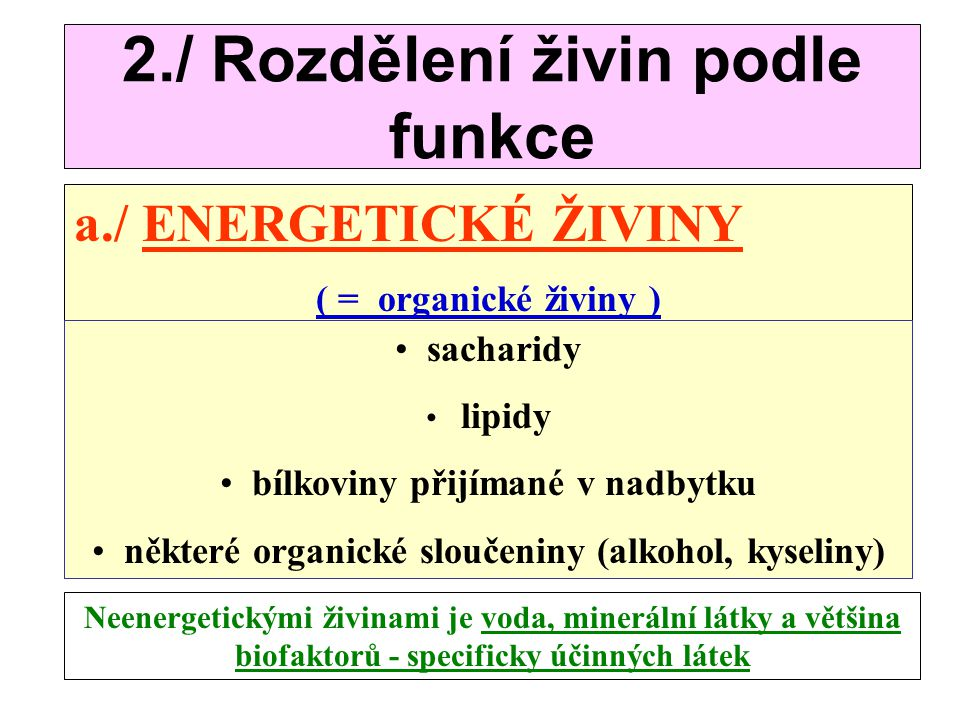 2./ Rozdělení živin podle funkce