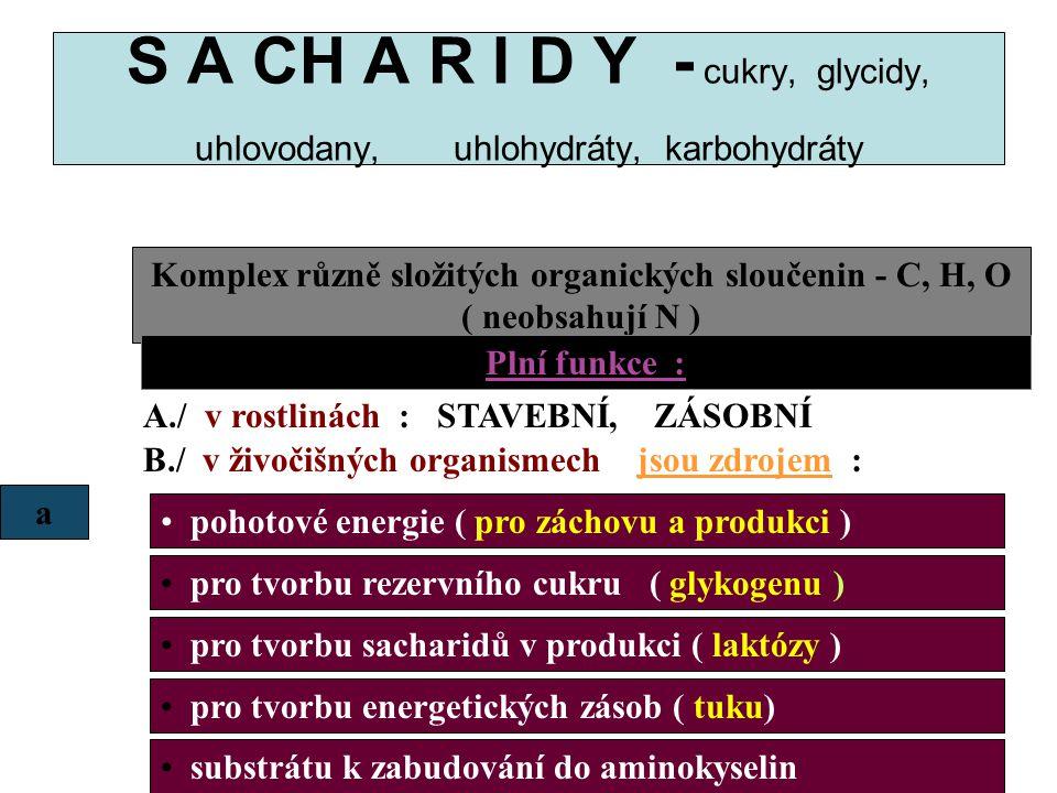 S A CH A R I D Y - cukry, glycidy, uhlovodany, uhlohydráty, karbohydráty