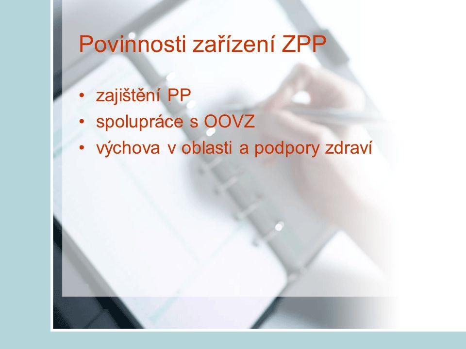 Povinnosti zařízení ZPP