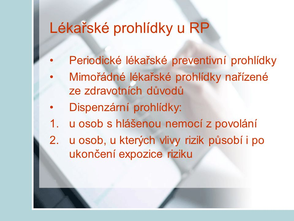Lékařské prohlídky u RP