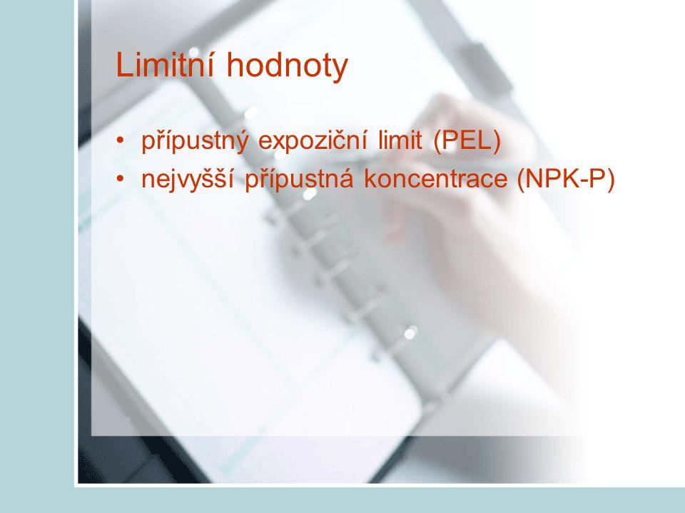 Limitní hodnoty přípustný expoziční limit (PEL)