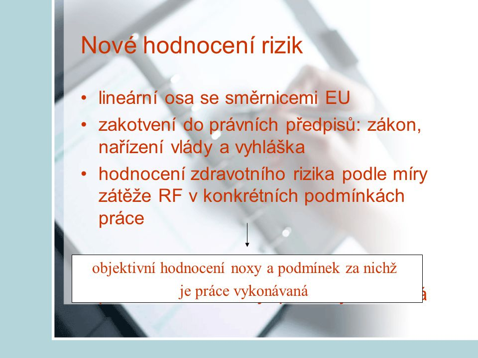 objektivní hodnocení noxy a podmínek za nichž