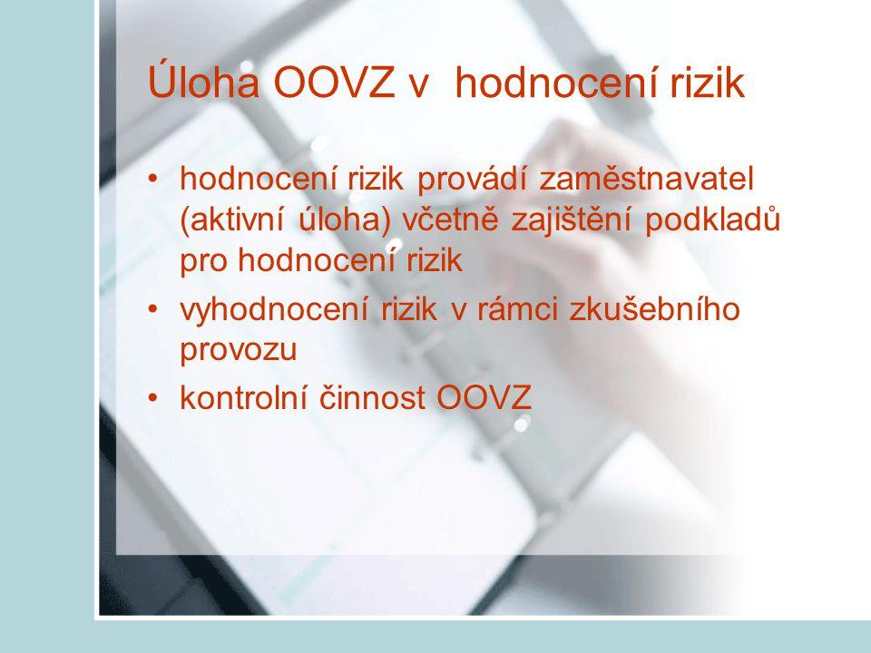Úloha OOVZ v hodnocení rizik