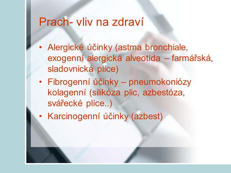 Prach- vliv na zdraví Alergické účinky (astma bronchiale, exogenní alergická alveotida – farmářská, sladovnická plíce)