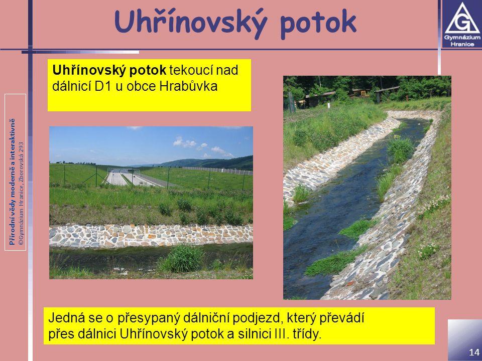 Uhřínovský potok Uhřínovský potok tekoucí nad dálnicí D1 u obce Hrabůvka. Jedná se o přesypaný dálniční podjezd, který převádí.