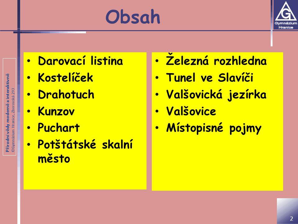 Obsah Darovací listina Kostelíček Drahotuch Kunzov Puchart