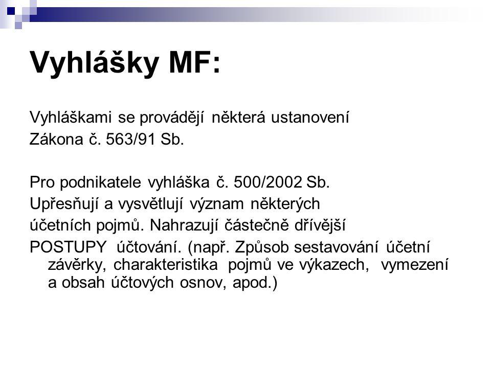 Vyhlášky MF: Vyhláškami se provádějí některá ustanovení