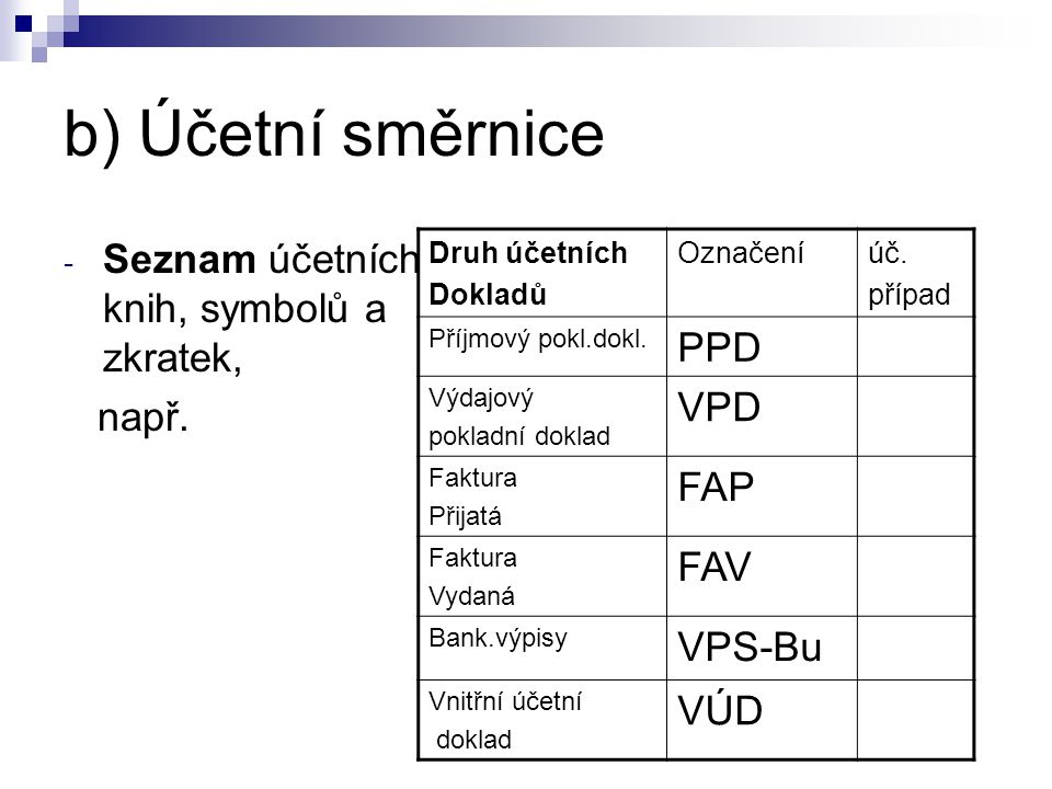 b) Účetní směrnice PPD VPD FAP