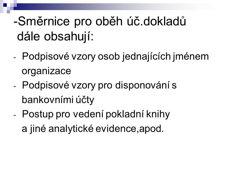 -Směrnice pro oběh úč.dokladů dále obsahují: