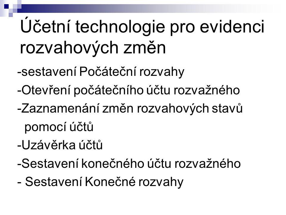 Účetní technologie pro evidenci rozvahových změn