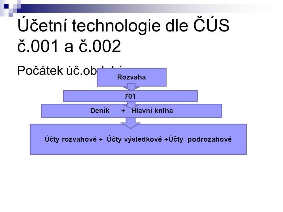 Účetní technologie dle ČÚS č.001 a č.002