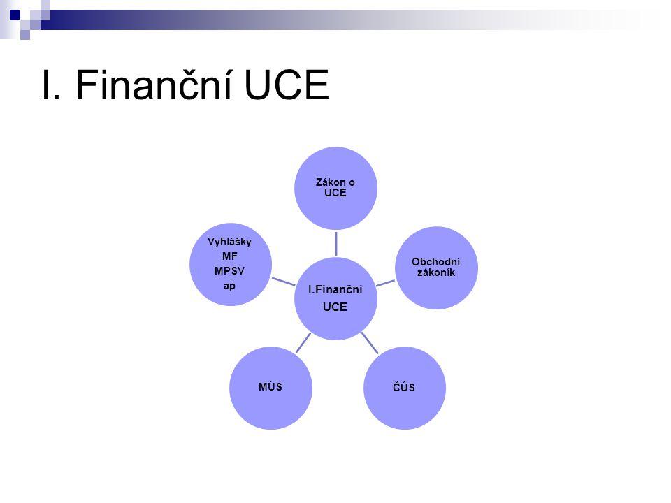 I. Finanční UCE I.Finanční UCE Zákon o UCE Obchodní zákoník ČÚS MÚS