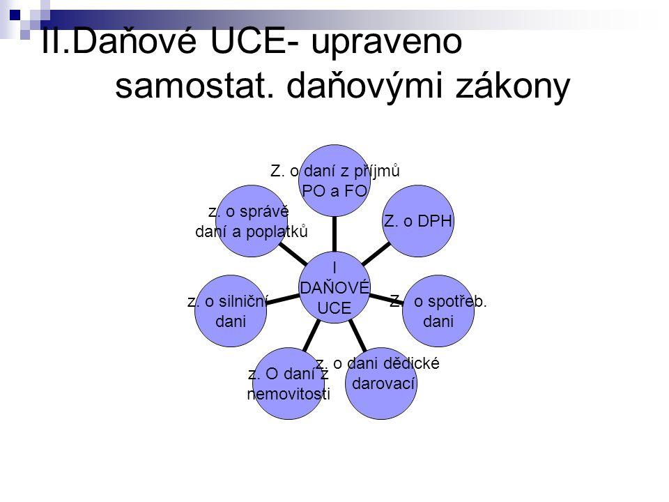 II.Daňové UCE- upraveno samostat. daňovými zákony