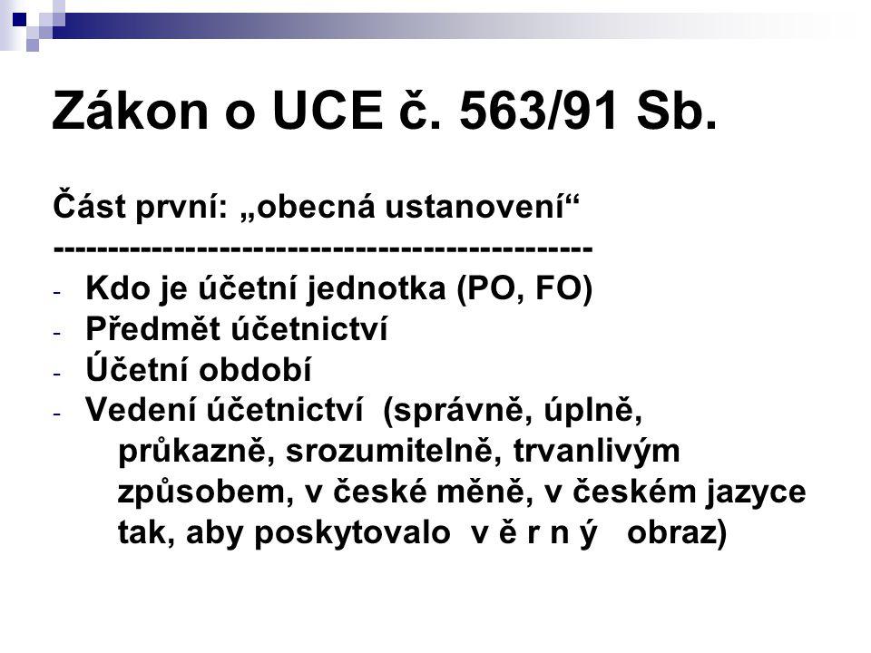 """Zákon o UCE č. 563/91 Sb. Část první: """"obecná ustanovení"""